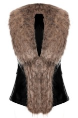 SuperCart Stylish Ladies Women Faux Fur Synthetic Leather Slim Solid Warm Vest Waistcoat (Brown) (Intl)