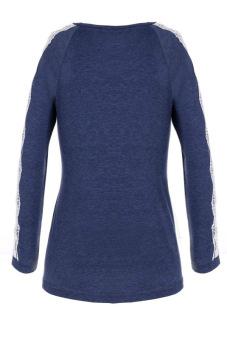 SuperCart Summer Autumn T Shirt Women Casual O-Neck Long Lace Sleeve Cotton Blend T-Shirt ( Dark Blue )