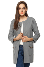 SuperCart Women Casual Long Jacket (Grey) (Intl)
