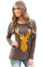 SuperCart Women Casual T-shirt Long Sleeve Loose Animal Print Top Hoodie (Brown)