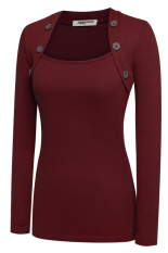 SuperCart Women Ladies Boat Neck Long Sleeve Button Decor Slim Casual Basic Cotton T-shirt (Red) (Intl)