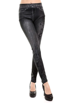 SuperCart Women's Denim Skinny Leggings (Black)