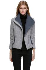 SuperCart Women's Fall Winter Slim Fit Assorted Colors Lapel Woolen Coat Jacket Outerwear (Grey) (Intl)