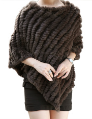 SuperCart Women's Soft Knitted Genuine Fur Poncho Jacket Coats (Coffee) (Intl)
