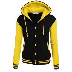 SuperCart Zeagoo Women Winter Long Sleeve Patchwork Baseball Hooded Jacket With Fleece (Yellow) - Intl