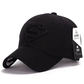 Superman Baseball Cap Hats for Men Women Adjustable S Letter Casual Outdoor Snapback Hat(black&black) (Int: One size)