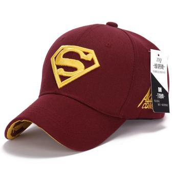 Superman Baseball Cap Hats for Men Women Adjustable S Letter Casual Outdoor Snapback Hat(yellow&wine red) (Int: One size)
