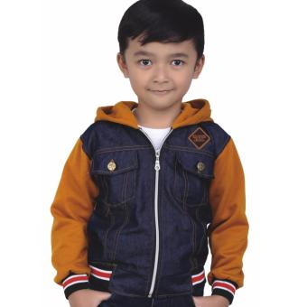 Sweater Jaket Anak Laki-Laki Catenzo Junior CRC 005 Tan Kombinasi