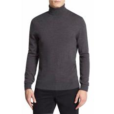 Sweater Pria Rajut - Long Neck Man sweater - Rajut Tebal - Abu Tua