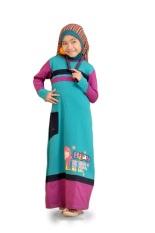 Syamsakids Baju Muslim Anak SL073 - Gamis Hijab - Multicolor