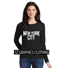 Sz Graphics / New York City2 / Long Sleeve Wanita / Kaos Lengan Panjang Wanita / T Shirt Wanita / Kaos Wanita / T Shirt Fashion Wanita / T Shirt Kaos Distro -Black