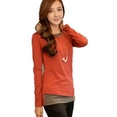 T-shirt Women 2016 New Korean Version Of Slim False TwoLong-sleeved Round Neck Knit Tops Orange