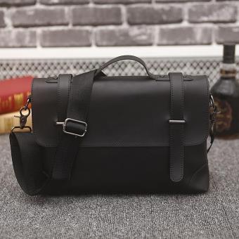 Tas bahu tunggal kapasitas besar bisnis tas kulit untuk pria (hitam) - ?