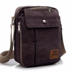 Tas Pria Men Vintage Canvas Multifunction Travel Satchel Messenger Shoulder Bag - Coklat Tua