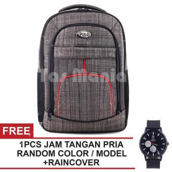 Tas Ransel Polo USA Steel Protector Tas Laptop Backpack - Grey + Raincover  FREE Jam Tangan 40ae6aac56