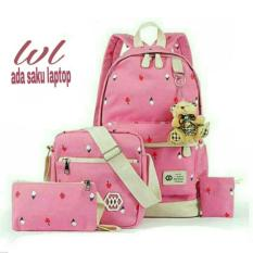 Tas Ransel Wanita 3in1 / Laptop Love Model lestari Fashion TRW 006 Pink