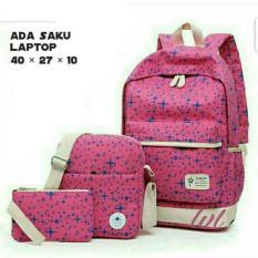 Tas Ransel Wanita 3in1 / Laptop Star Model lestari Fashion TRW 001 Pink