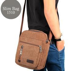 Tas Selempang Pria Kanvas Import Vintage Messenger Crossbody Bag - Khaki