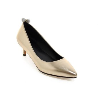 Tauntte 2017 New Crystal Shallow Med Heel Shoes Fashion Breathable Casual Women Pumps (Gold) - intl