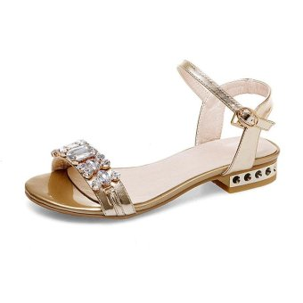 Tauntte New Summer Crytal Low Heel Sandals Women Korean Anti-Slip Casual Shoes (Gold) - intl