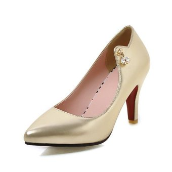 Tauntte Summer 8.5 cm Super High Heels Pump For Women Fashion Casual Crystal Thin Heel Shoes (Gold) - intl