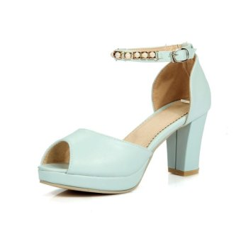 Tauntte Summer Fashion Crytal Cover Heels Sandals Breathable Women High Heel Casual Shoes (Blue) - intl