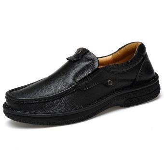 Tauntte Summer Slip-Ons Cow Leather Shoes For Men Fashion Breathable Casual Genuine Leather Shoes (Black) - intl
