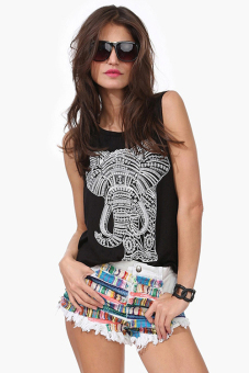The elephant print leisure loose round collar sleeveless vest vest joker T-shirt S-XL (Black) - intl