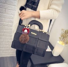 The New Spring / Summer 2016 Women Bag Suture Boston Bag Inclined Shoulder Bag Women Leather Handbags (Black) - Intl