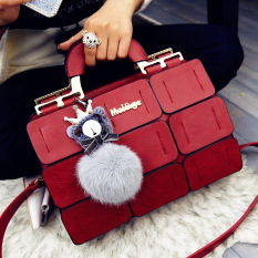 The New Spring / Summer 2016 Women Bag Suture Boston Bag Inclined Shoulder Bag Women Leather Handbags (Red) - Intl