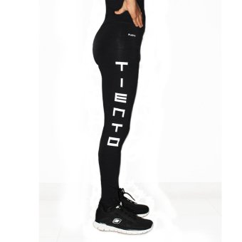 Tiento Baselayer Stretch Legging Celana Ketat Olahraga Gym YogaFitness Running Renang Bola Long Pants Typotype Black WhiteOriginal