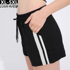 Tiga poin putih garis-garis sisi celana pendek (Hitam)