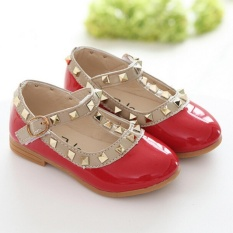 Toddler Princess Party Shoes Girls Kids Sandals Rivet Buckle T-Strap Flat Shoes Red - intl