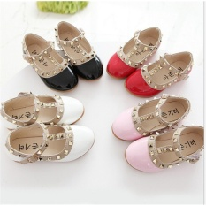 Toddler Princess Party Shoes Girls Kids Sandals Rivet Buckle T-Strap Flat Shoes White - intl