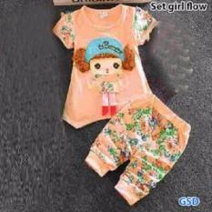 Toko Grosir Dress-Setelan Baju Anak Cewe Motif Bunga-Set Girl Flow Oren
