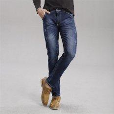 TongLuRen LNZK0010-A Jeans Fashion Men Straight Jeans Slim Stretch Denim Casual Long Trousers (Blue) (Intl)