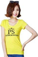 TongLuRen NSTX0048-B T-Shirts Woman Casual Fashion PS Printing Hot Drilling (Yellow) (Intl)