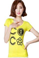 TongLuRen NSTX0049-B T-Shirts Woman Casual Fashion Number Printing Hot Drilling (Yellow) (Intl)