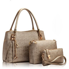 Top-Handle Bags Fashion Women Messenger Bags Handbag Set PU Leather Composite Bag (Gold)