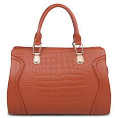 Top Quality Women's Cow Leather Hand Bags Luxury Genuine Leather Crocodile Pattern Shoulder Bag Handbag Brown