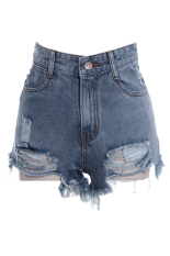Toprank Denim Women Shorts Sexy Summer Hole Destroyed Shorts Jeans Plus Size High Waisted Jeans Short (Blue) (Intl)