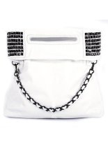Toprank Details Korean Lady Women Pu Leather Handbag Shoulder Bag (White)