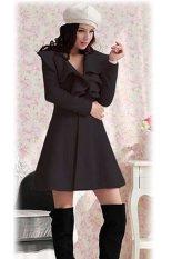 Toprank Korea Lady Women's Elegant Ruffles Collar Slim Fit Long Wool Trench Coat Winter Outwear Overcoat 4 Size (Black)