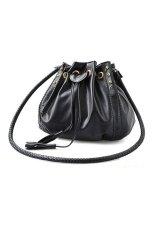 Toprank Korean Style Women Handbag Pu Leather Shoulder Cross Body Messenger Bag Purse (Black)