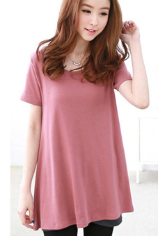 Toprank Lady Short Sleeve Loose Shirt Lace Back Irregular Hem Blouses Tops Wine