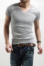 Toprank Men Clothes T Shirt High-Elastic Cotton Men'S Short Sleeve V Neck Tight Shirt Male T-Shirt B1.3324 (Grey)