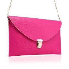 Toprank New Women's Envelope Purse Synthetic Leather Shoulder Bag Purse Handbag (Pink) - Intl