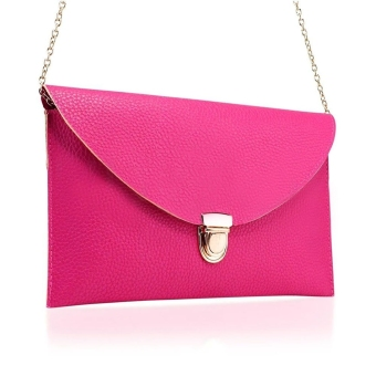 Toprank New Women's Envelope Purse Synthetic Leather Shoulder Bag Purse Handbag (Pink) - Intl