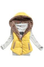 Toprank S-Xxxl Winter Down Vest Women / Female Winter Hoodie Slim Fur Lining Vest / Hoodie Down Coat Waistcoat (Yellow)