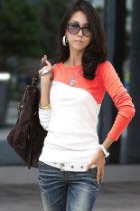 Toprank Spring Women Patchwork Tops Casual Round Neck Long Sleeve Cotton T ShirtCoffe / Gray / / S / M / L